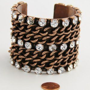 Jewelry - 80S COPPER CHAIN RHINESTONE STATEMENT CUFF RUNWAY